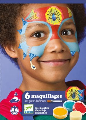 djeco kid with super hero face paint on face