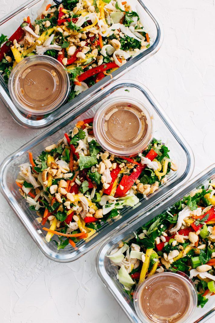 chopped thai chicken salad with peanut dressing