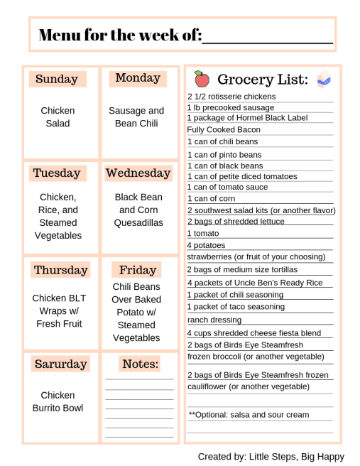 No-Cook Meal Plan A