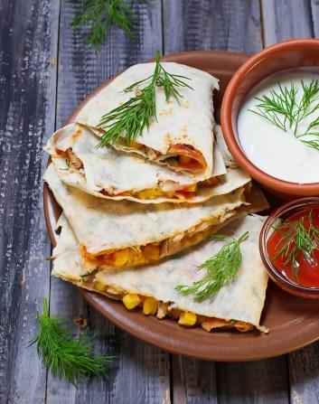 No-Cook Meal Prep Ideas: bean and corn quesadilla
