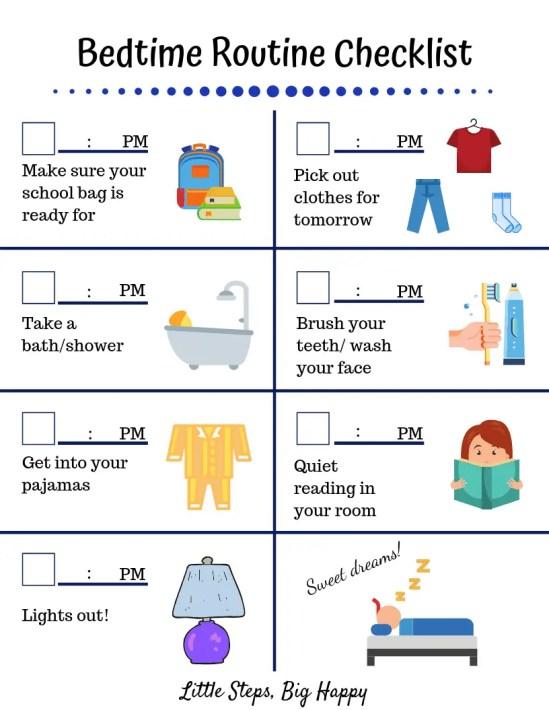 Bedtime Routine Checklist