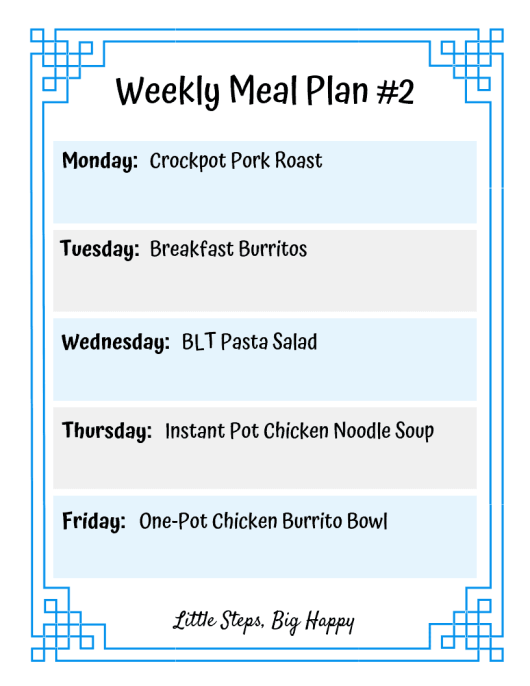 Weekly Meal Plan 2