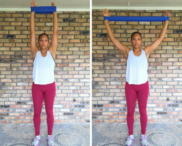 Overhead Pull Apart, Loop Resistance Band - resistance band exercises for arms