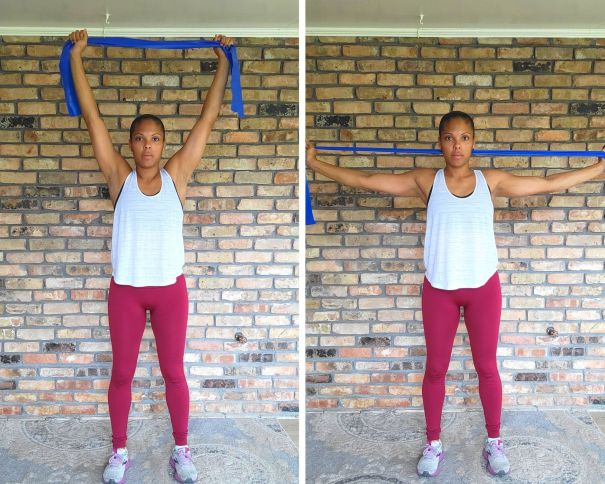 Overhead Pull Apart Long resistance band - Resistance band exercises for arms