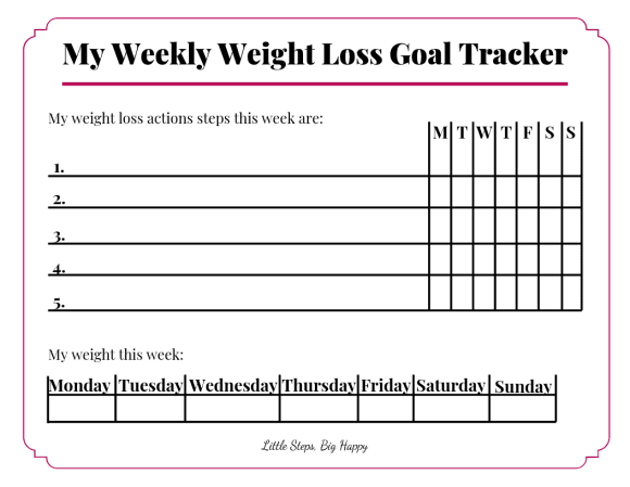 Weekly Weight Loss Goal Tracker