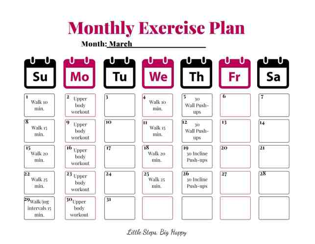 Monthly Plan to Reach Your Exercise Goals