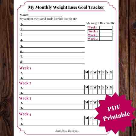 Monthly Weight Loss Tracker