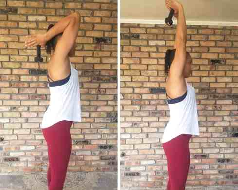 Overhead Triceps Extension - Need Some EMOM Workout Ideas? Try this EMOM Dumbbell Routine