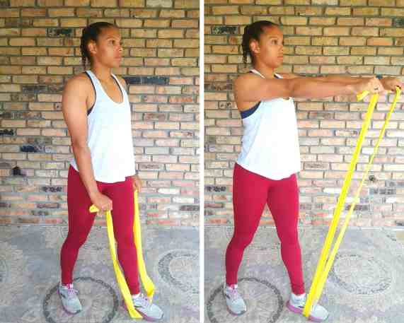 Front raise - Resistance band exercises for back and shoulders