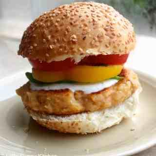Sweet Potato Burgers with Roasted Garlic Sauce