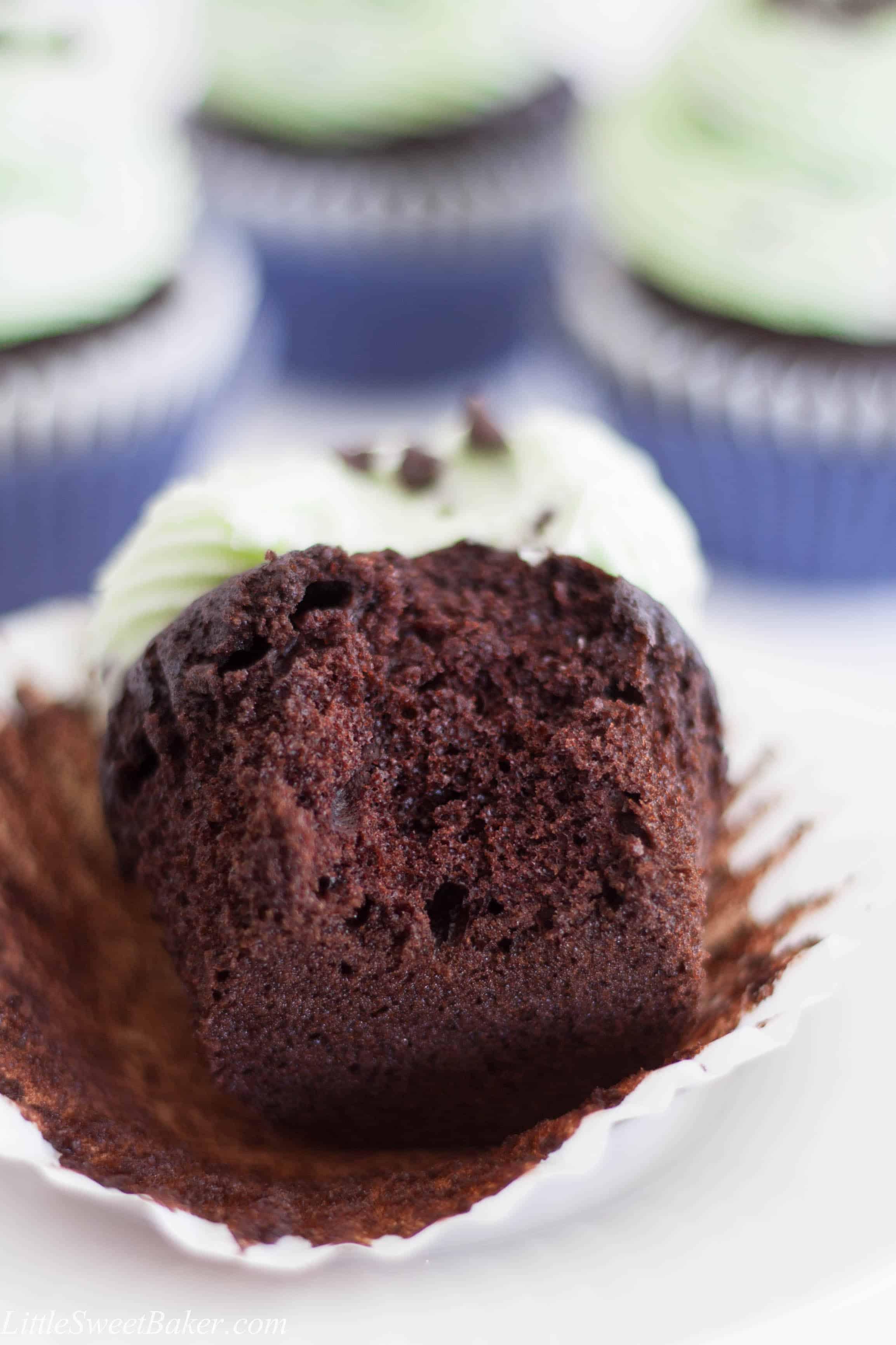 Chocolate Mint Chocolate Chip Cupcakes