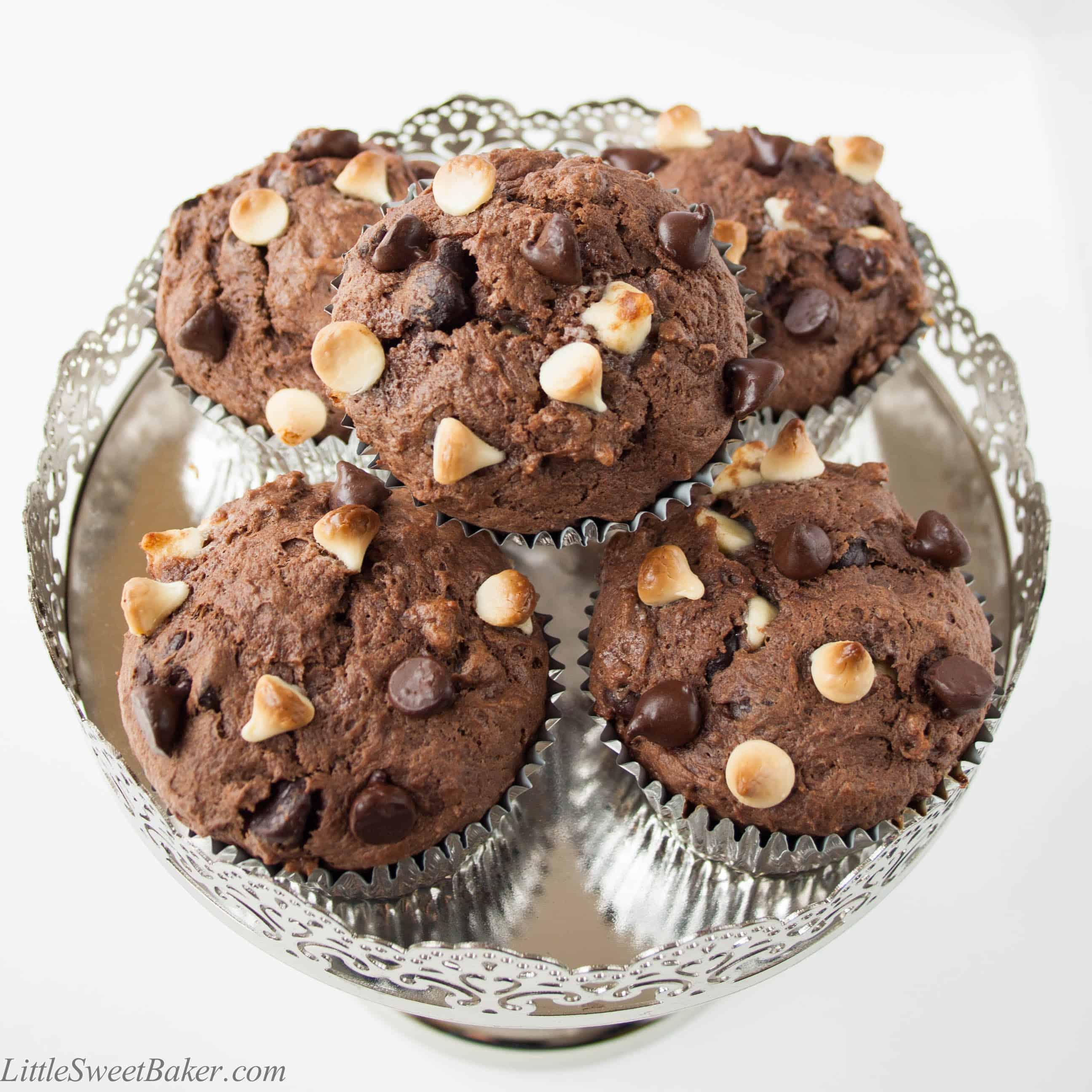 triple chocolate muffins little sweet baker. Black Bedroom Furniture Sets. Home Design Ideas
