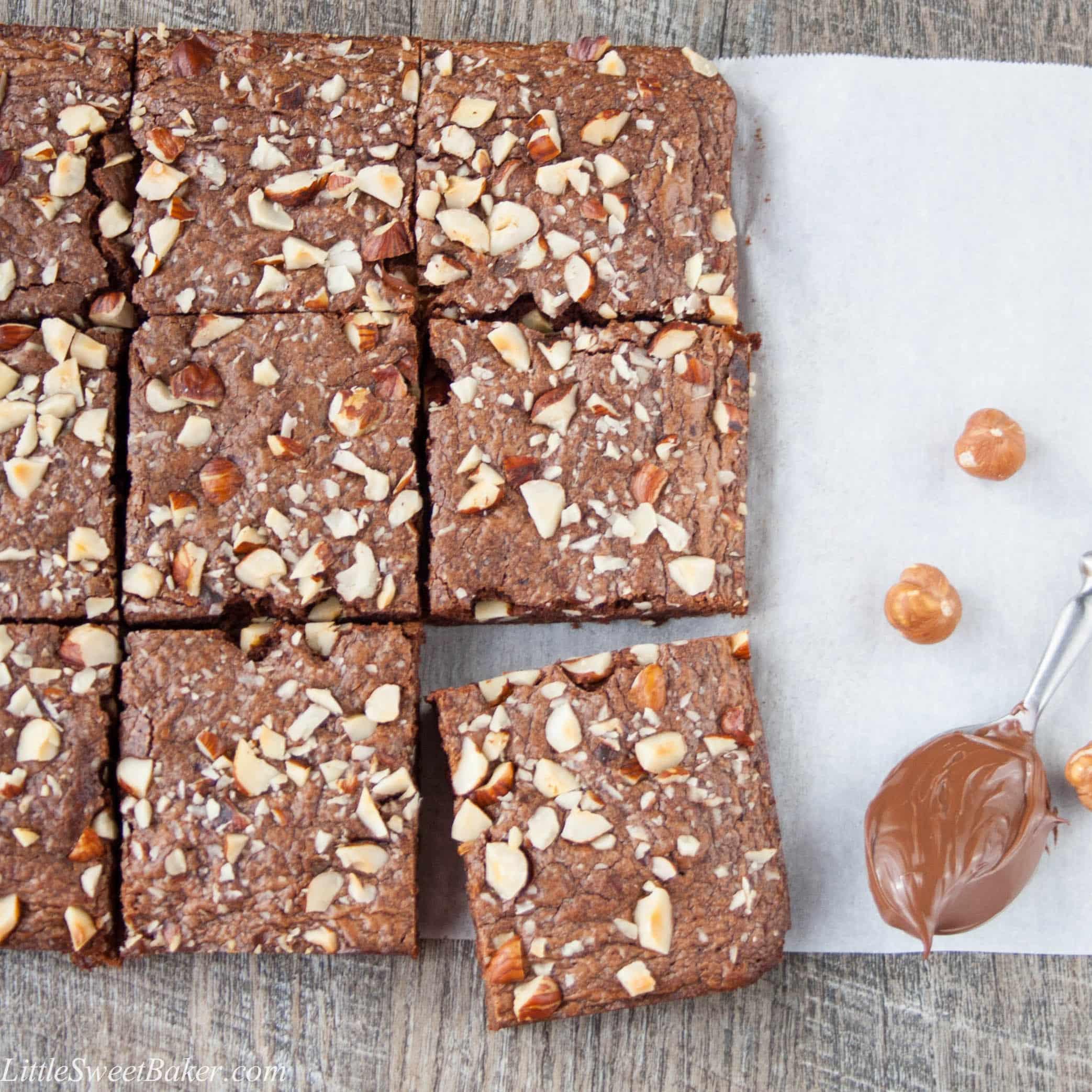 Nutella Topped Brownies 3 Ingredient Nutella Brownies Little Sweet Baker