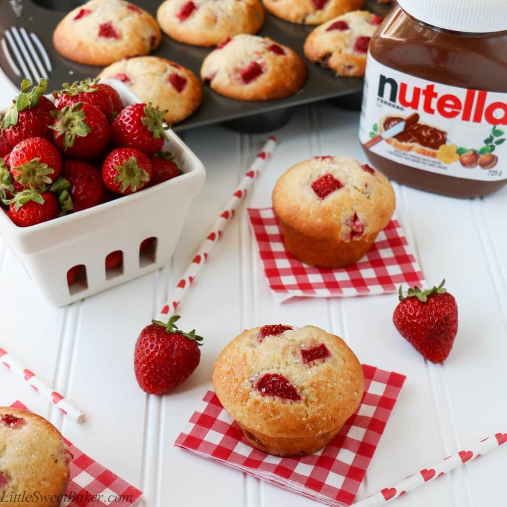 NUTELLA STUFFED STRAWBERRY MUFFINS. A delicious, soft, moist and fluffy muffin, loaded with fresh juicy strawberries and filled with Nutella inside! Quick and easy to make.