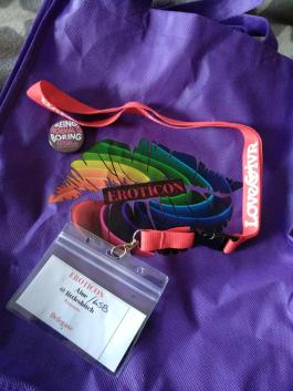 image of the Eroticon bag with my name badge that I recieved on Friday at the meet and greet