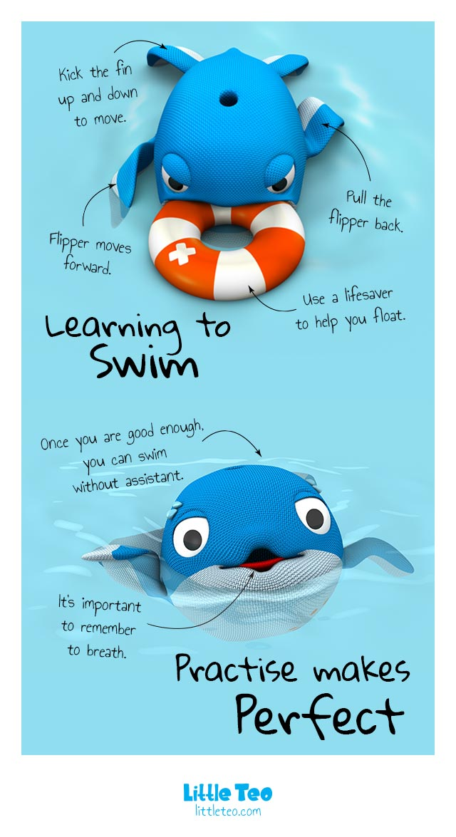 A whale learning how to swim   ADORABLE CUTE CHARACTER STORY PICTURE