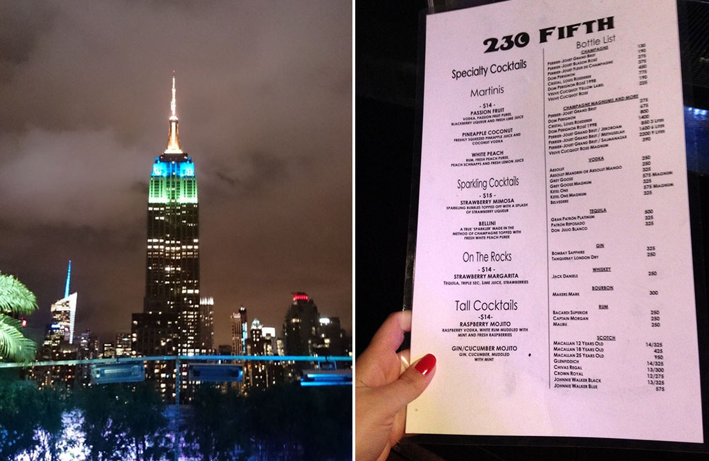 Voyage, mes incontournables pour visiter new-york, roof top bar 230 fifth