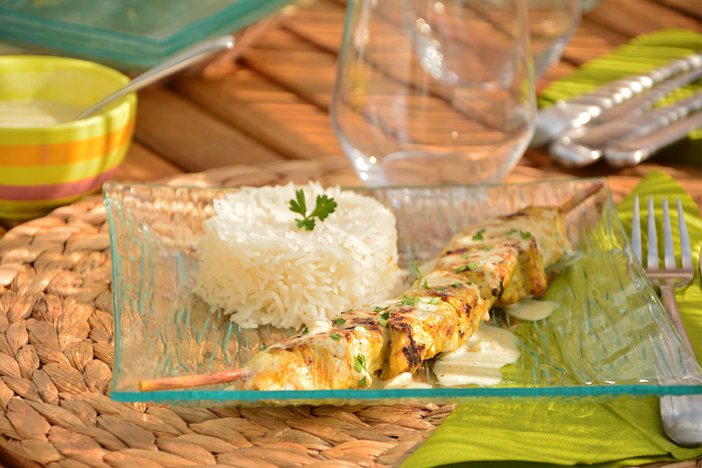 Recette simple, rapide et gourmande de brochette de dinde au curry et au lait de coco au barbecue