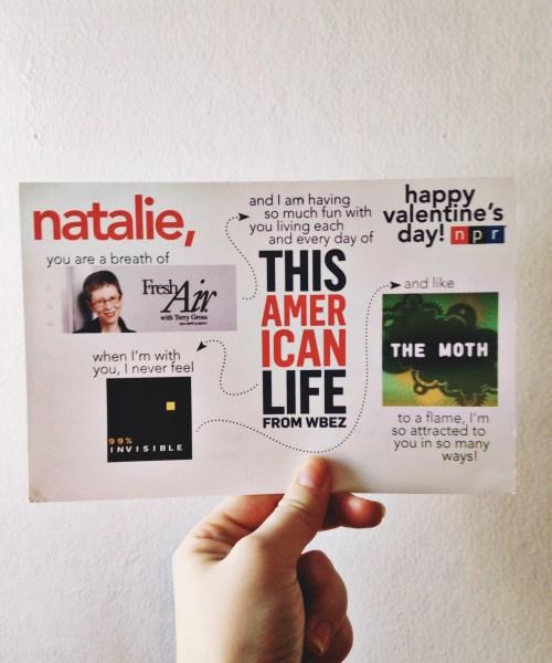 podcast-inspired homemade Valentine's Day card