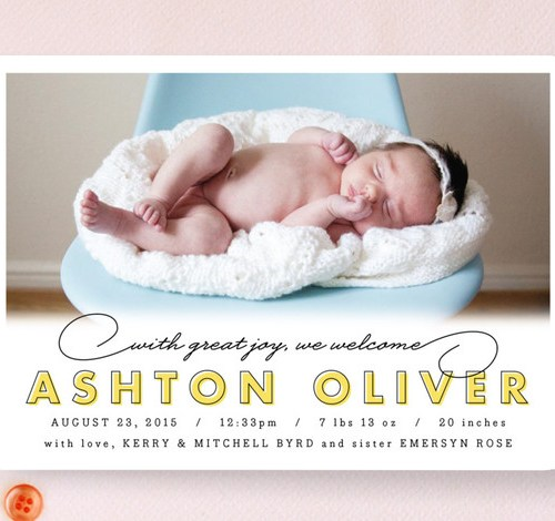 warm welcome birth announcement by by kristie kern -for Minted