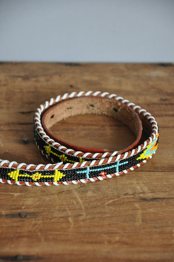 vintage 1960s brown leather Tribal colorful beaded belt