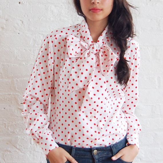polka dot tie neck blouse (s/m)