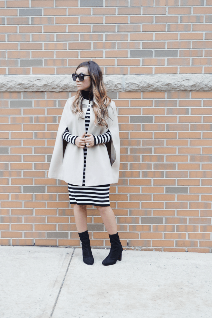 See how fashion blogger Little Tree Vintage styles this cape for Fall.