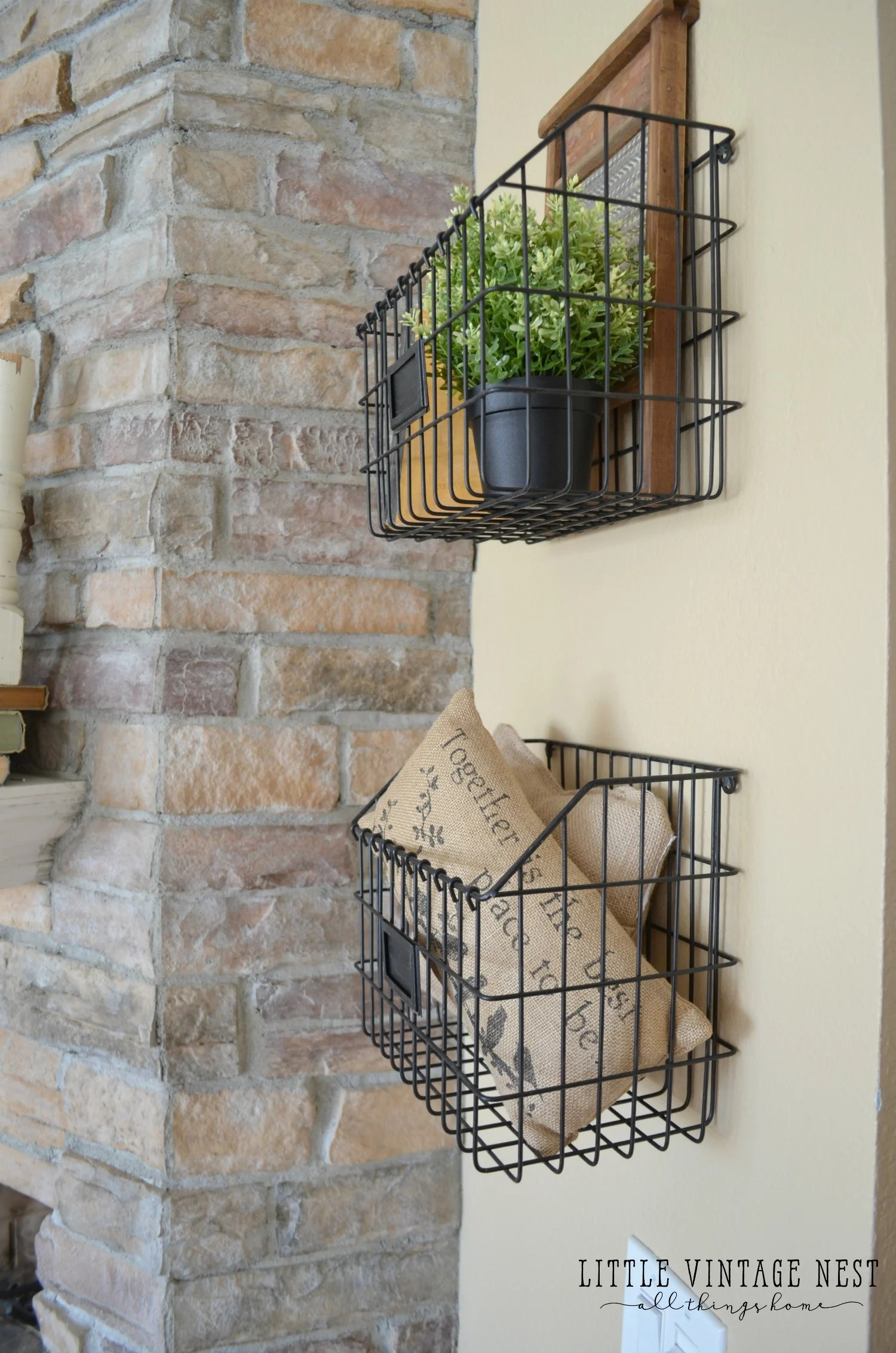 Farmhouse Style  Decorating with Wire Baskets   Little Vintage Nest Farmhouse Style  How to Decorate with Wire Baskets