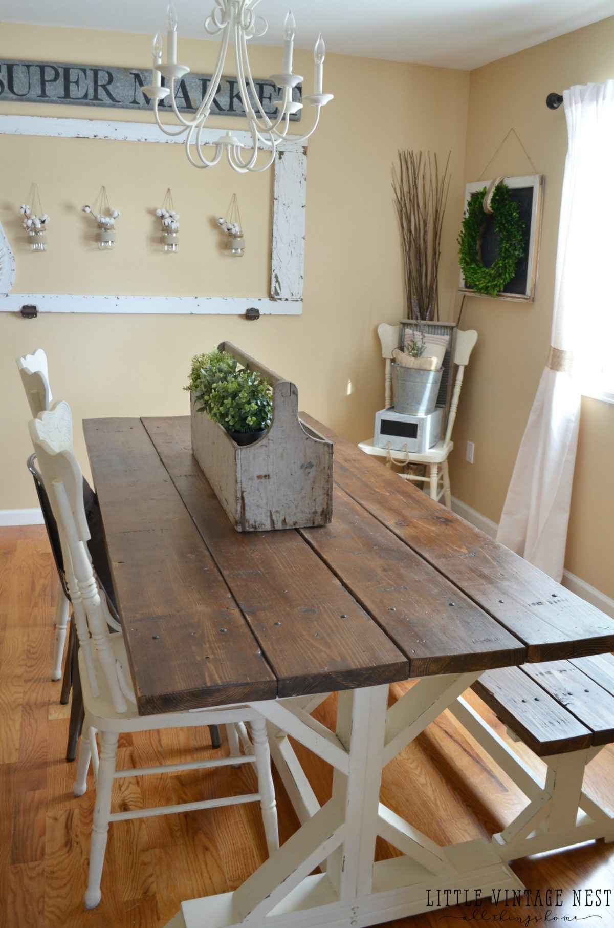 Modern Farmhouse Dining Room Makeover - Little Vintage Nest on Dining Room Curtains Farmhouse  id=69338