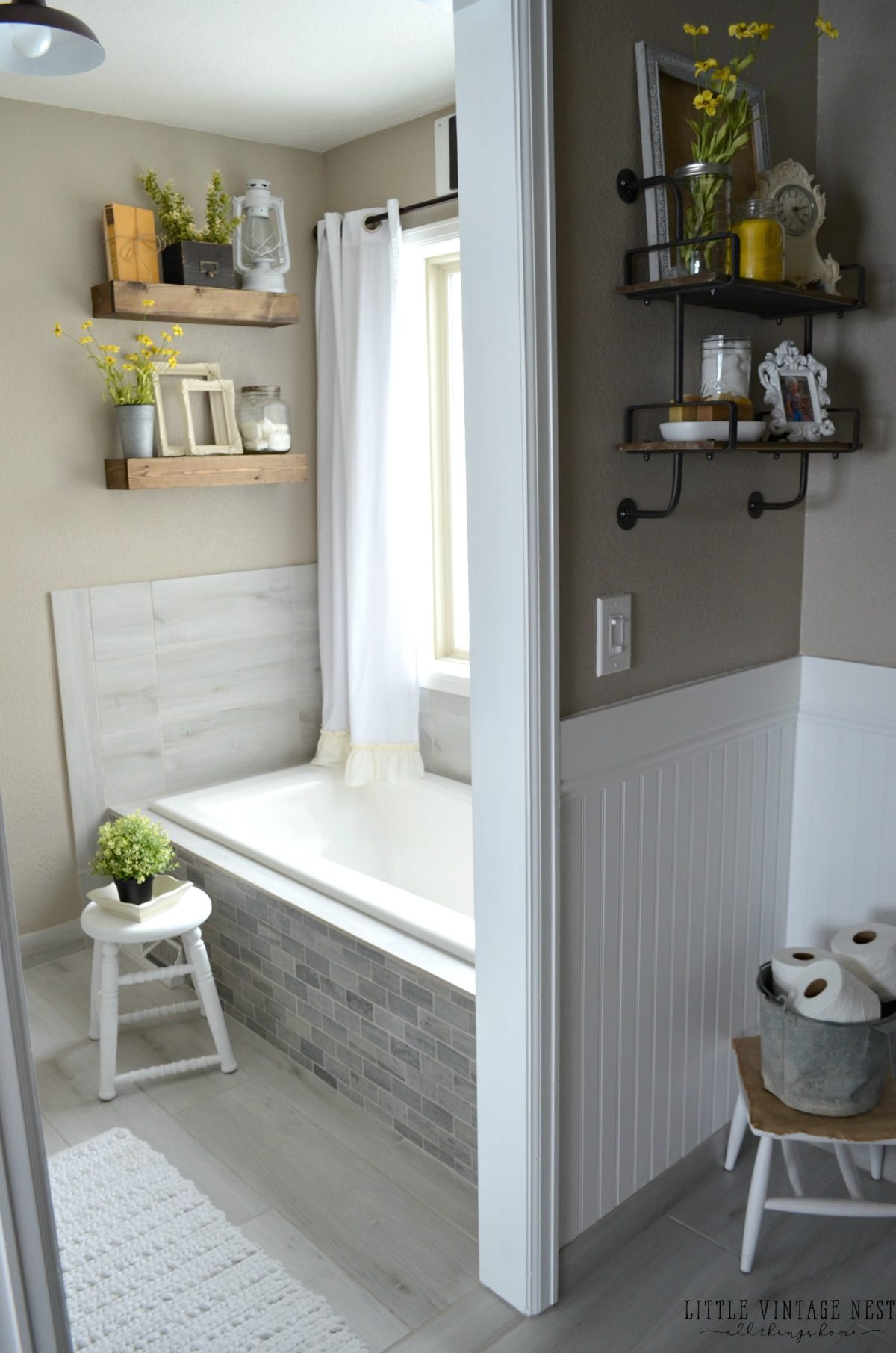 Farmhouse Master Bathroom Reveal - Little Vintage Nest on Farmhouse Shower Ideas  id=51418