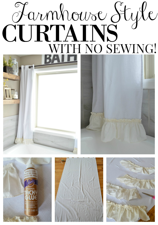 No Sew Farmhouse Curtains - Little Vintage Nest on Farmhouse Bedroom Curtain Ideas  id=17082