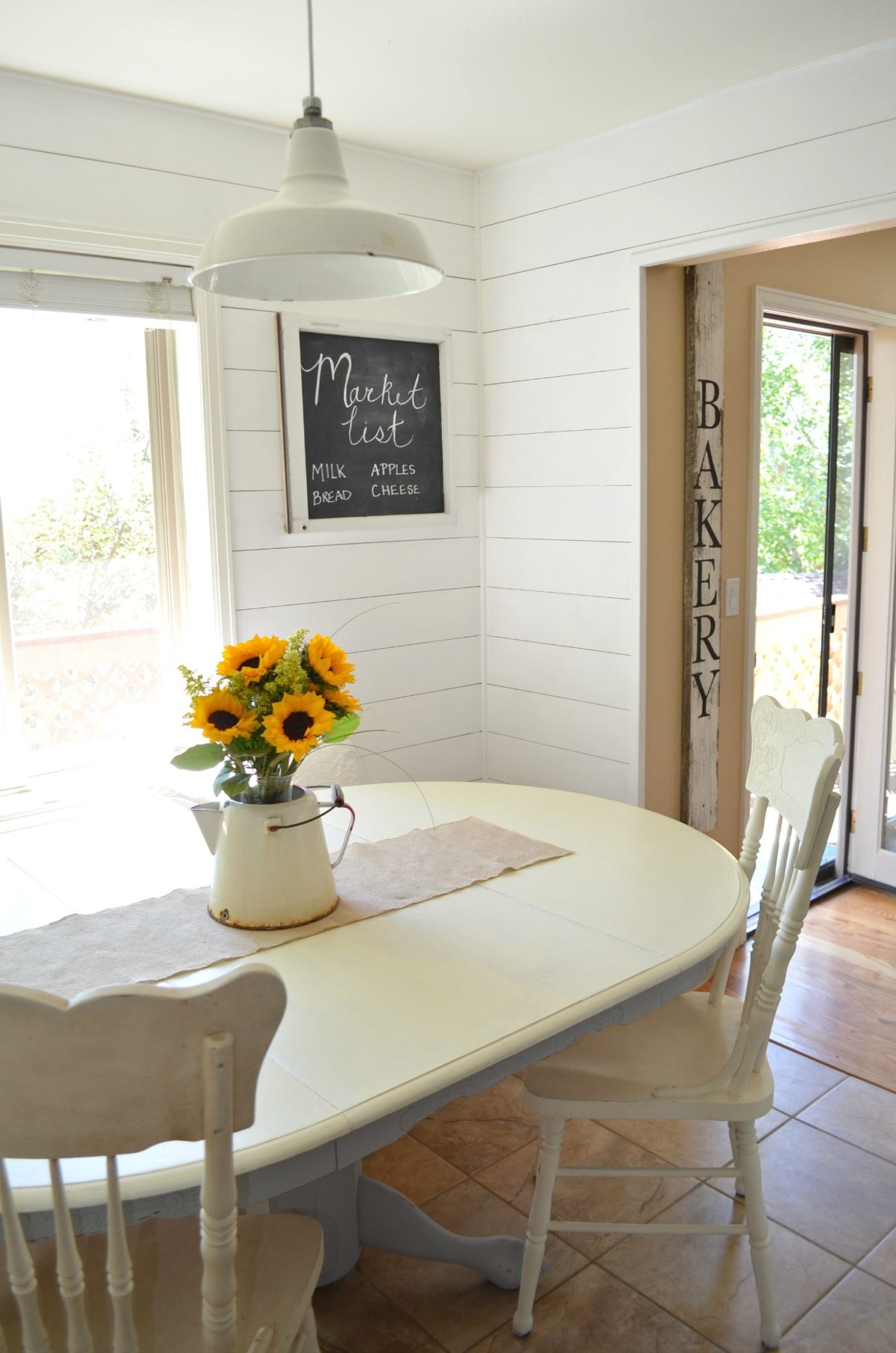 Transition to Farmhouse Decor Shiplap in Breakfast Nook ... on Farmhouse Dining Room Curtains  id=68038