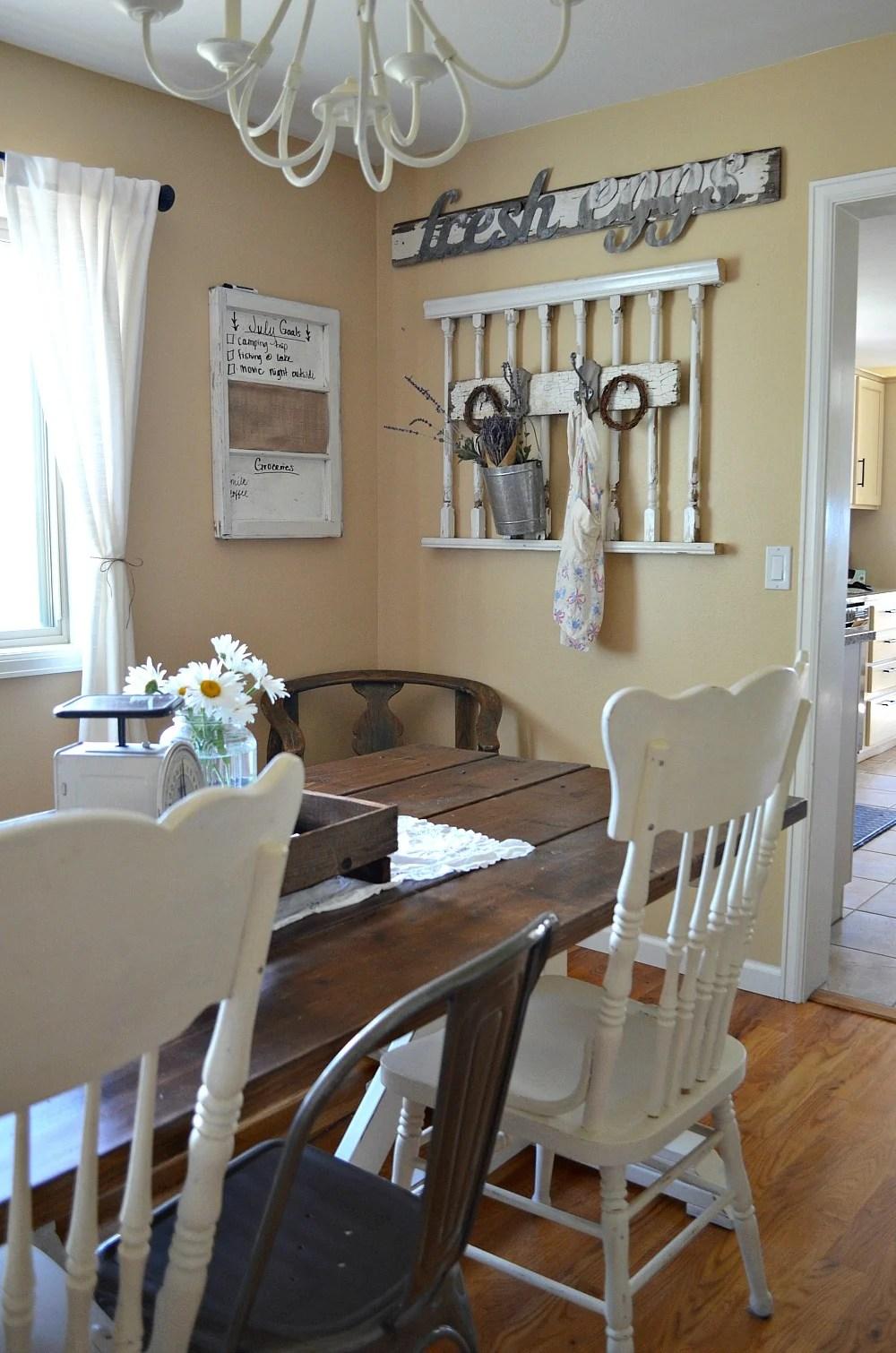 Simple Farmhouse Style Dining Room - Little Vintage Nest on Farmhouse Dining Room Curtains  id=24073