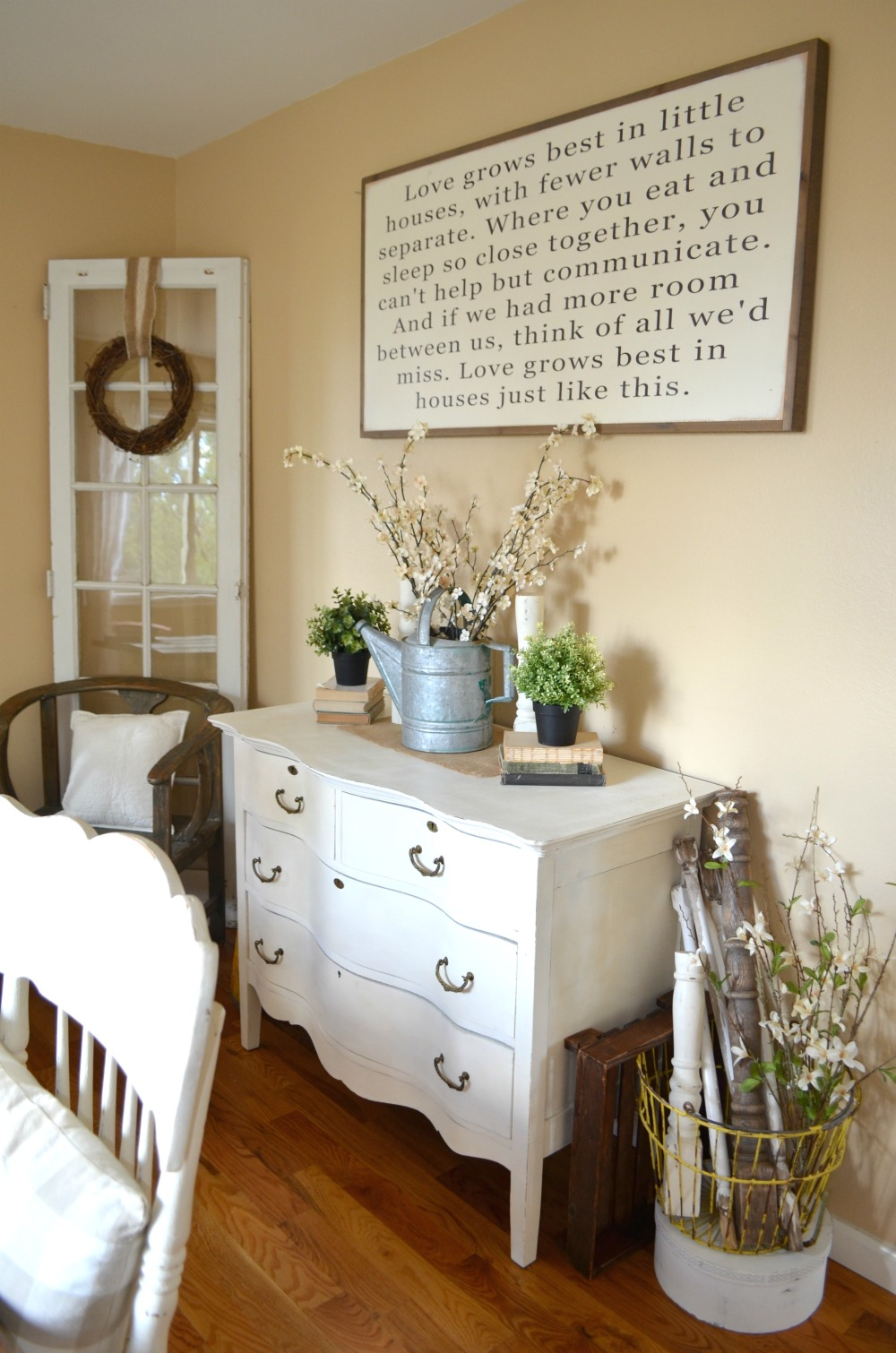 Love Grows Best in Little Houses Sign - Little Vintage Nest on Farmhouse Dining Room Curtains  id=42131