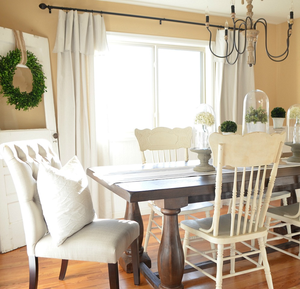 Modern Farmhouse Dining Room Makeover - Little Vintage Nest on Farmhouse Dining Room Curtain Ideas  id=34936