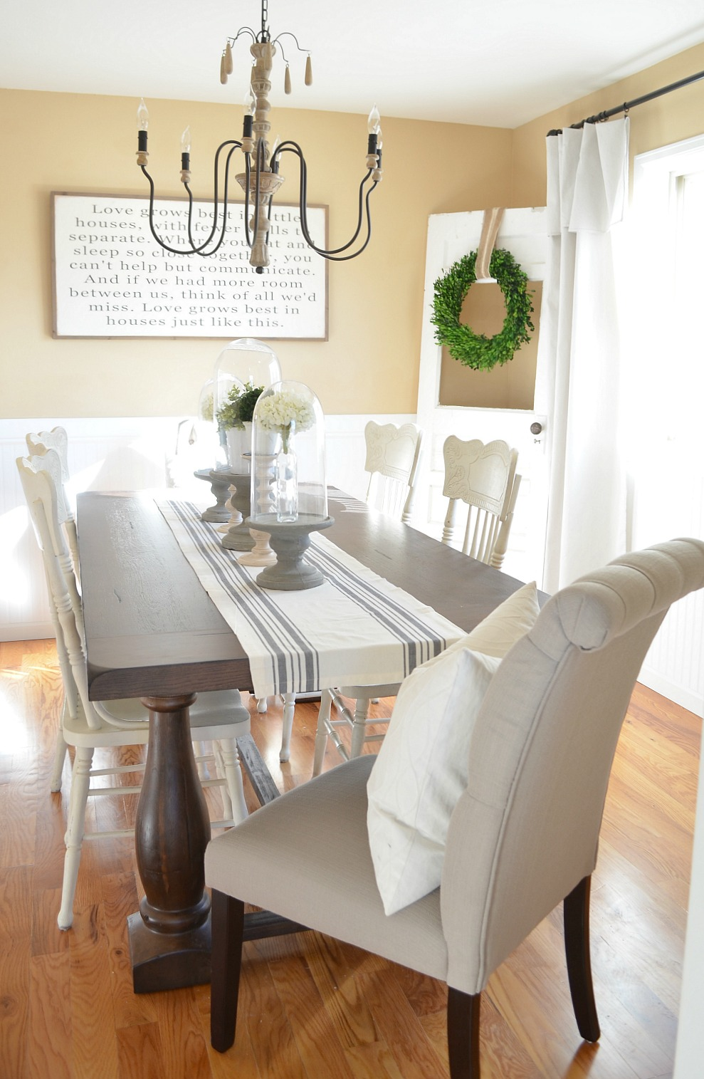 Modern Farmhouse Dining Room Makeover - Little Vintage Nest on Farmhouse Dining Room Curtain Ideas  id=44506