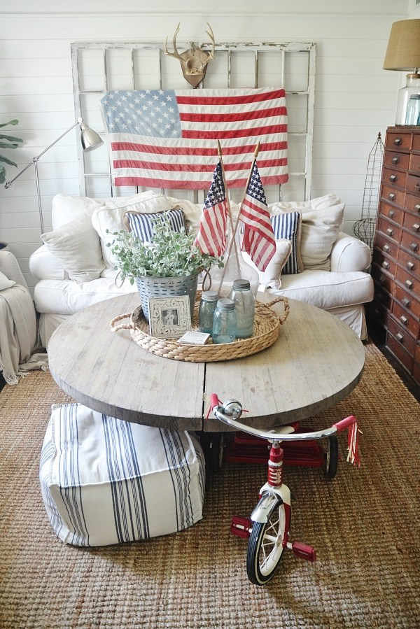 Simple 4th of July Decor Ideas with Farmhouse Style on Farmhouse:-Cra1Rtrksu= Dining Room Curtains  id=76200