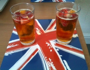 Refreshing Pimms! Fruit sliced by me.