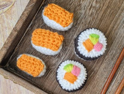 image of crochet sushi set to show how to embroider filling