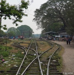 Hopin Station in Upper Burma is a typical rural station. Sadly, most of the rubbish on the train (polystyrene boxes from those delicious curries) is tossed from the open windows and left to litter the tracks.