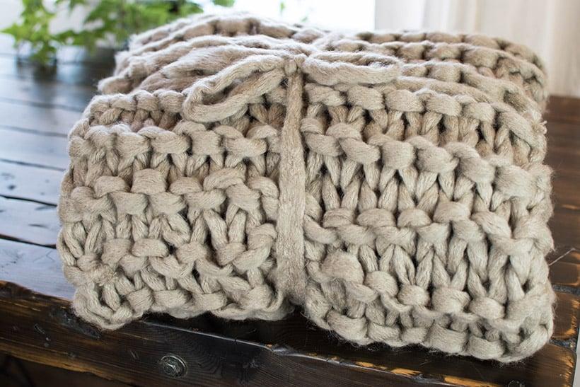 Chunky Knit Blanket Folded