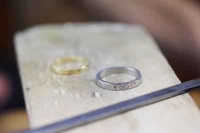イニシャル柄&レーザー加工結婚指輪(吉川様オーダーメイド)
