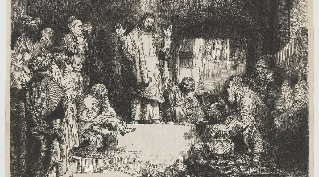 Christ Preaching in the Temple by Rembrandt