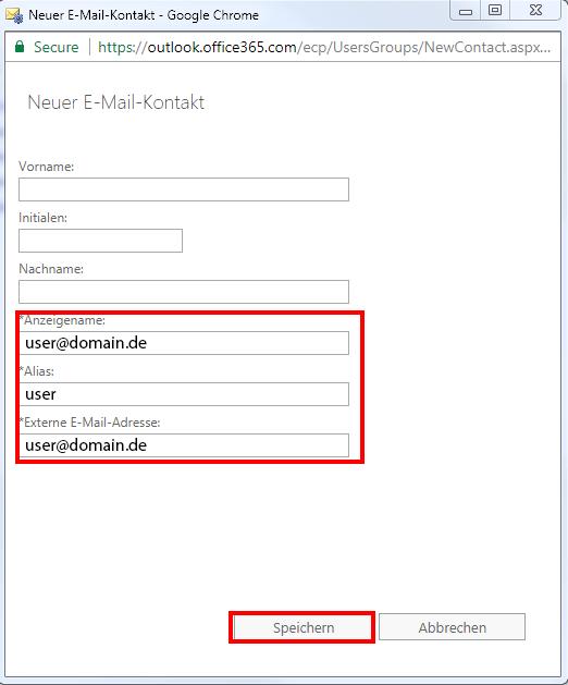Office365 Exchange Admin Center Empfänger Kontakte E-Mail-Kontakt NEU
