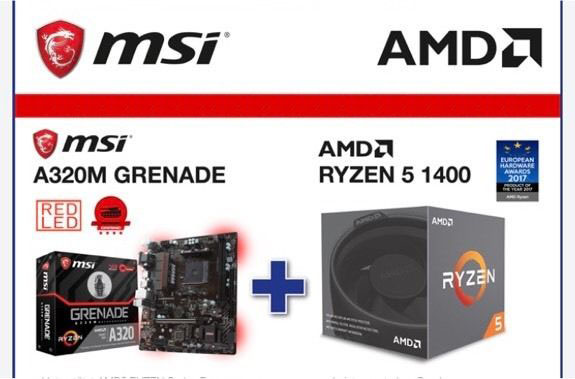 MSI A320M Grenade + AMD Ryzen 5 1400 Bundle