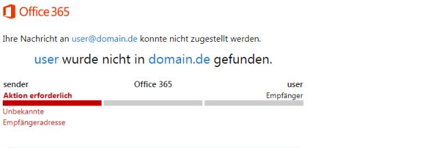 Office365 550 5.1.10 RESOLVER.ADR.RecipientNotFound; Recipient not found by SMTP address lookup Fehler