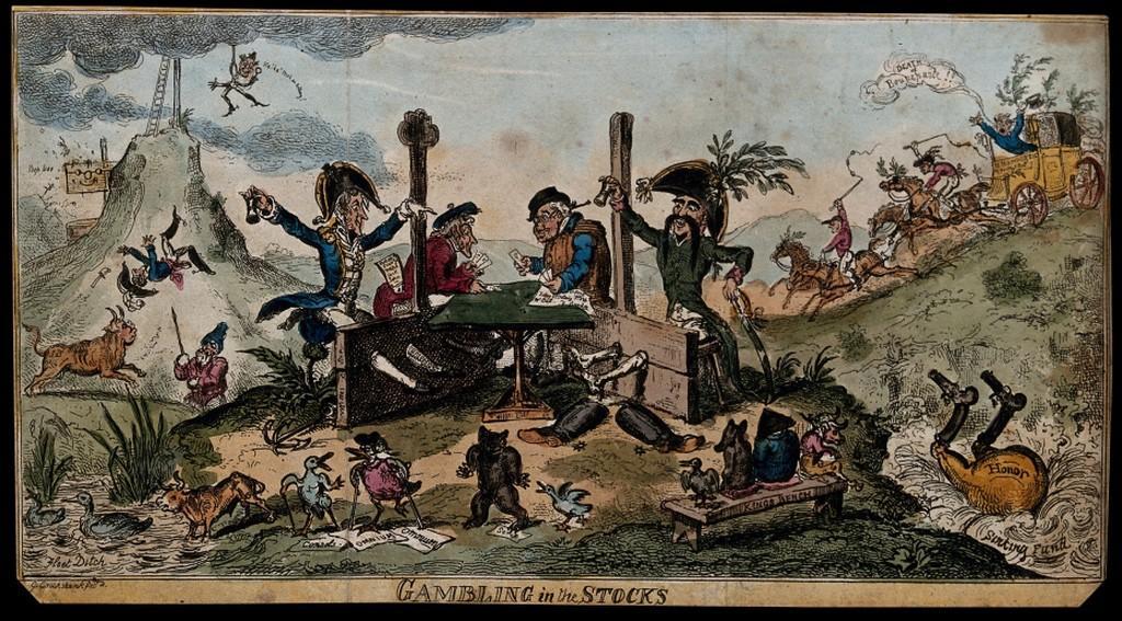 Stampa satirica che ritrae Lord Cochrane e De Berenger mentre giocano a dadi.