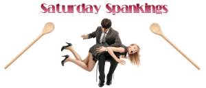 Saturday Spankings logo - woman over a man's lap, being spanked