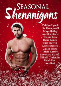 Seasonal Shenanigans Christmas anthology cover - man with a bare chest, wearing a Santa hat. Christmas is Coming