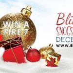 Blissemas 2017 graphic with baubles in the snow, and Santa and Mrs Claus kissing